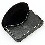 Pindi Black Leather Name Card Wallet / Holder with Magnetic Shut (N001-BL UK)