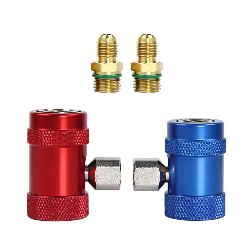 2PCS Auto AC R1234yf Quick Couplers Adapters Conversion Kit With Manual Red blue