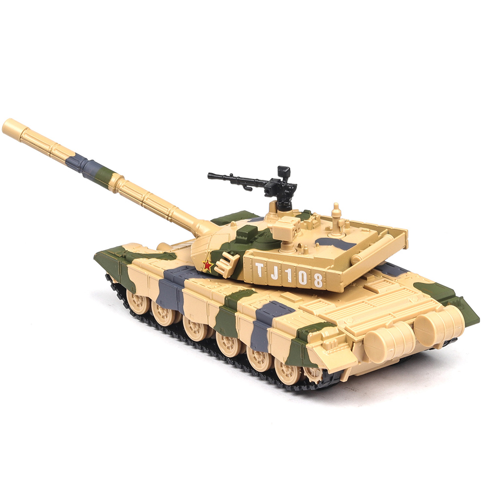1:32 Simulation Camouflage Tank Model Light Effect Alloy Pull Back Toy Car Collection Camouflage yellow