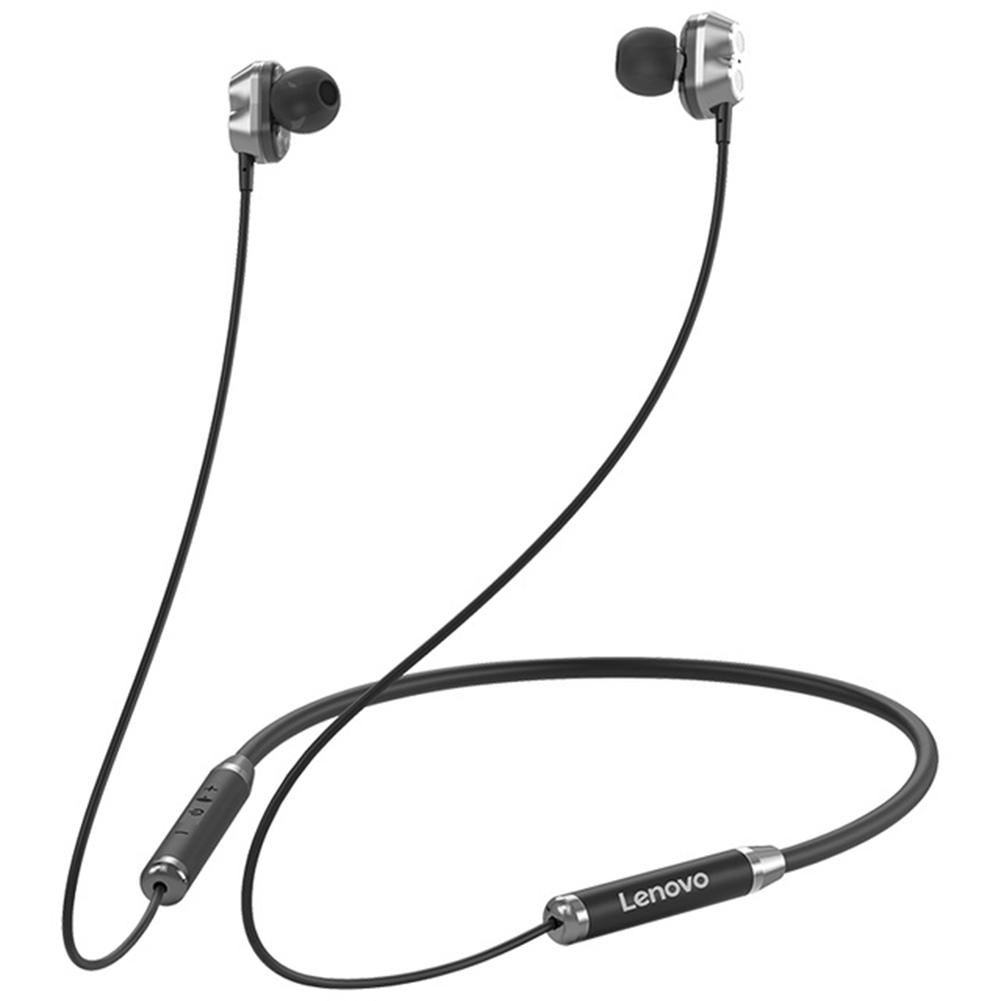 Original LENOVO He08 Dual Dynamic Neckband Bluetooth Headphones Tws 4 Speakers Hifi Stereo Headset black