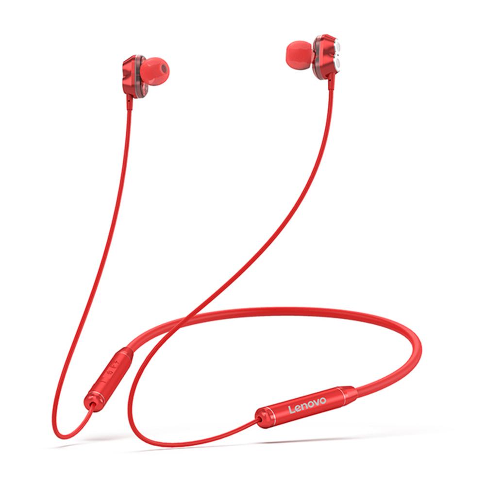 Original LENOVO He08 Dual Dynamic Neckband Bluetooth Headphones Tws 4 Speakers Hifi Stereo Headset red