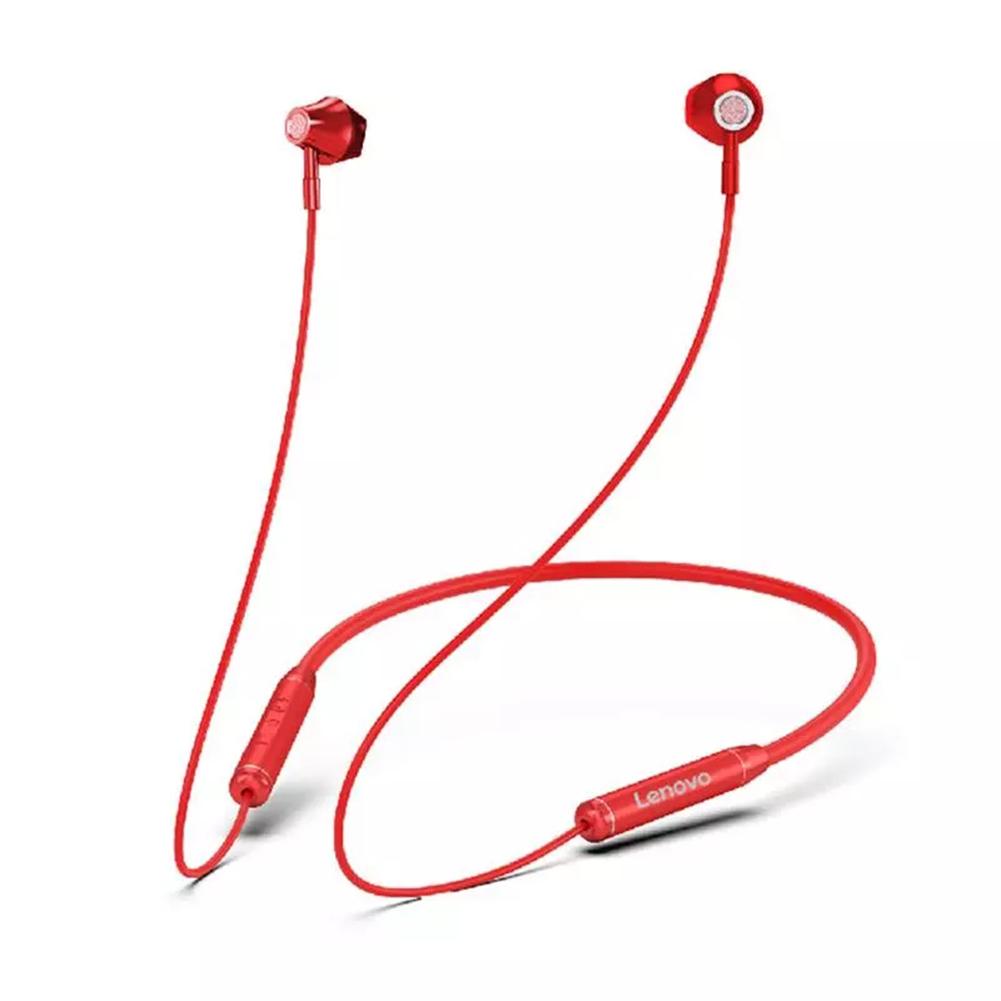 Original LENOVO He06 Bluetooth 5.0 Neckband Wireless Earphones Stereo Sports Magnetic Waterproof Headset red