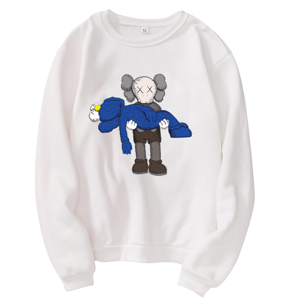 Men Women Loose Cute Cartoon Printing Round Collar Fleece Sweatshirts white_S
