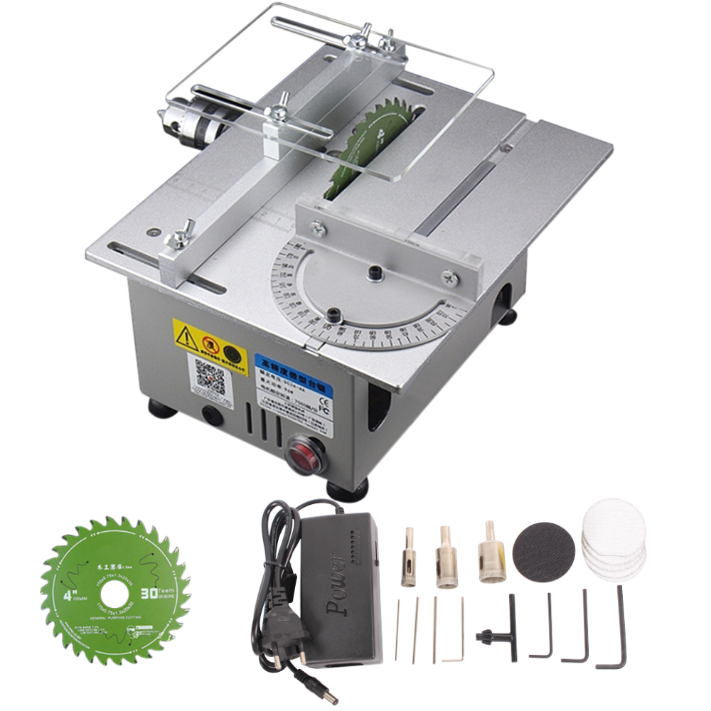 Mini Table Saw Woodworking Lathe Electric Polisher Grinder DIY Circular Cutting Saw Blade Silver_European plug