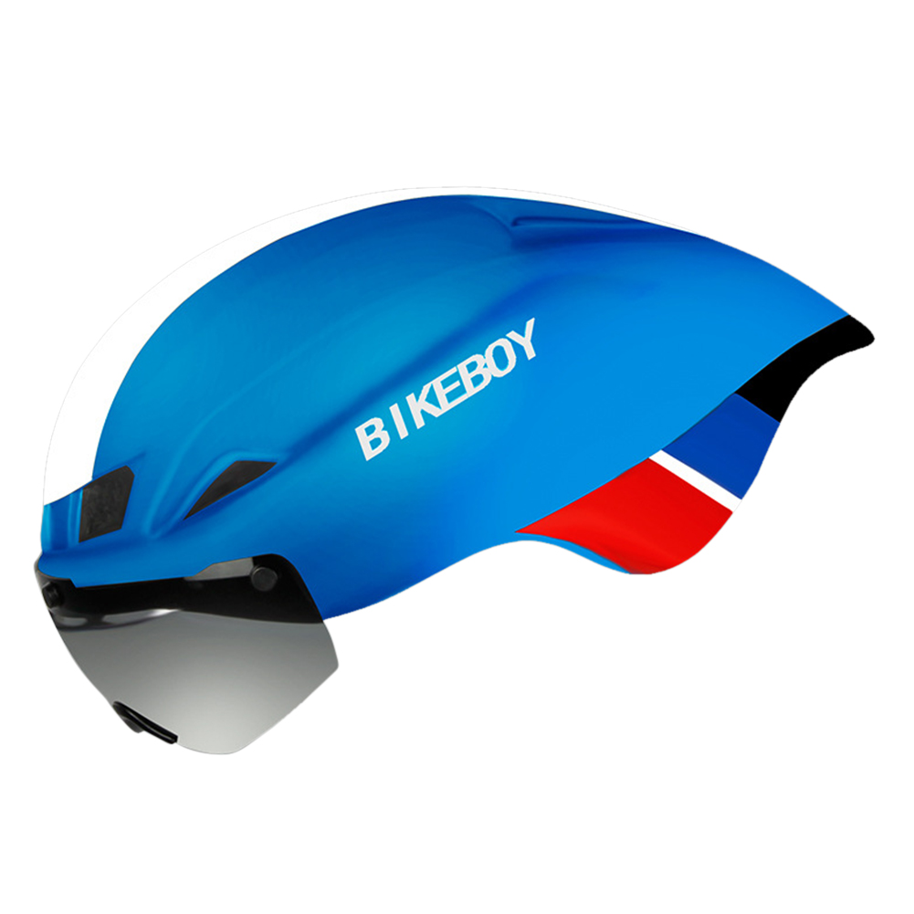 Bike Helmet with Goggles  Road Bicycle Sports Safety Racing Riding Cycling Helmet Blue white - matte_Free size