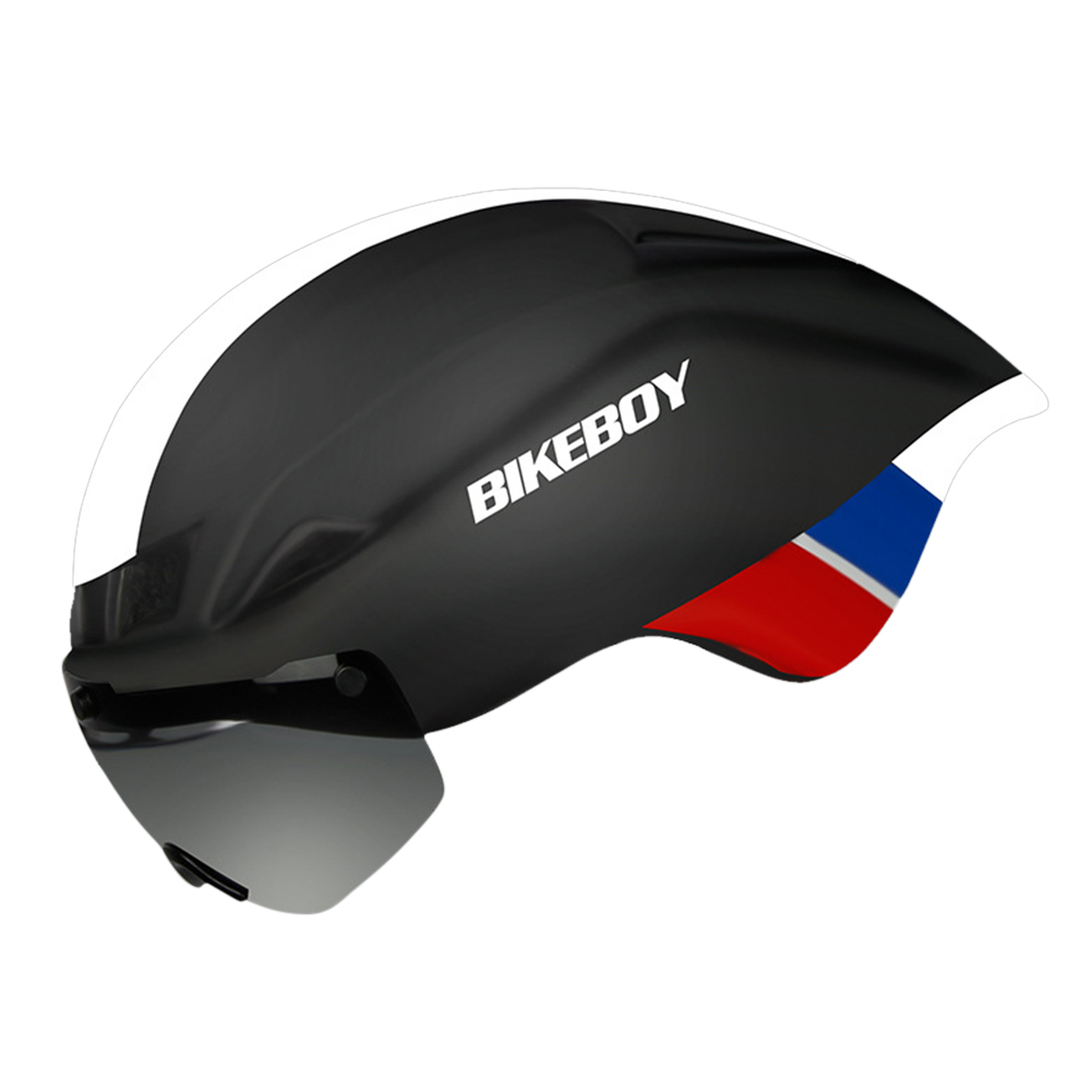 Bike Helmet with Goggles  Road Bicycle Sports Safety Racing Riding Cycling Helmet Black white - matte_Free size