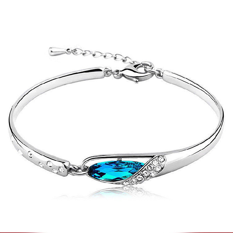 Fashion Womens 925 Sterling Silver Crystal Bracelet Bangle