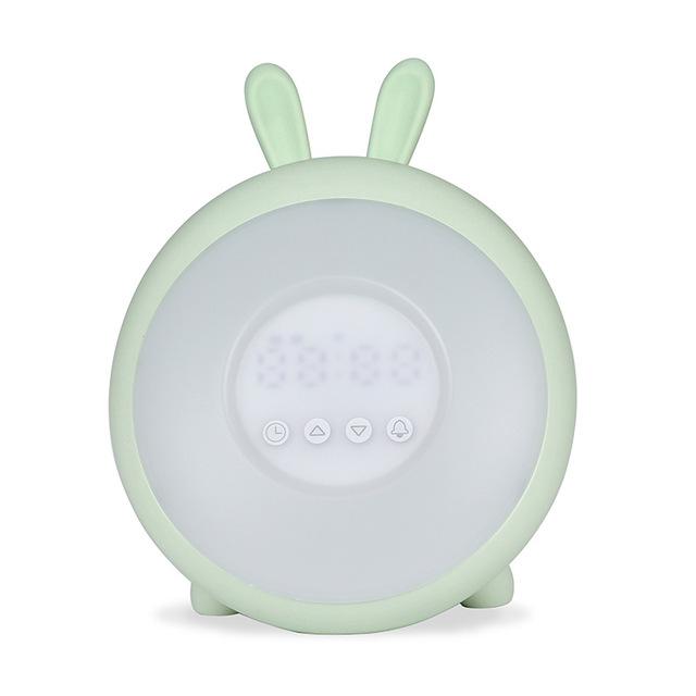 LED Rabbit Dream Time Sleeping Wake up Light Desk Bedside Alarm Clock Lamp Rechargable for Bedroom Decoration green