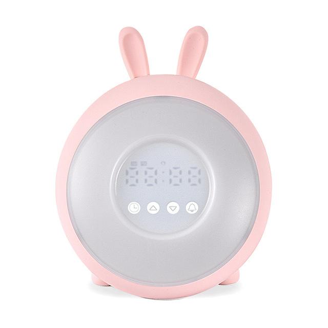 LED Rabbit Dream Time Sleeping Wake up Light Desk Bedside Alarm Clock Lamp Rechargable for Bedroom Decoration Pink