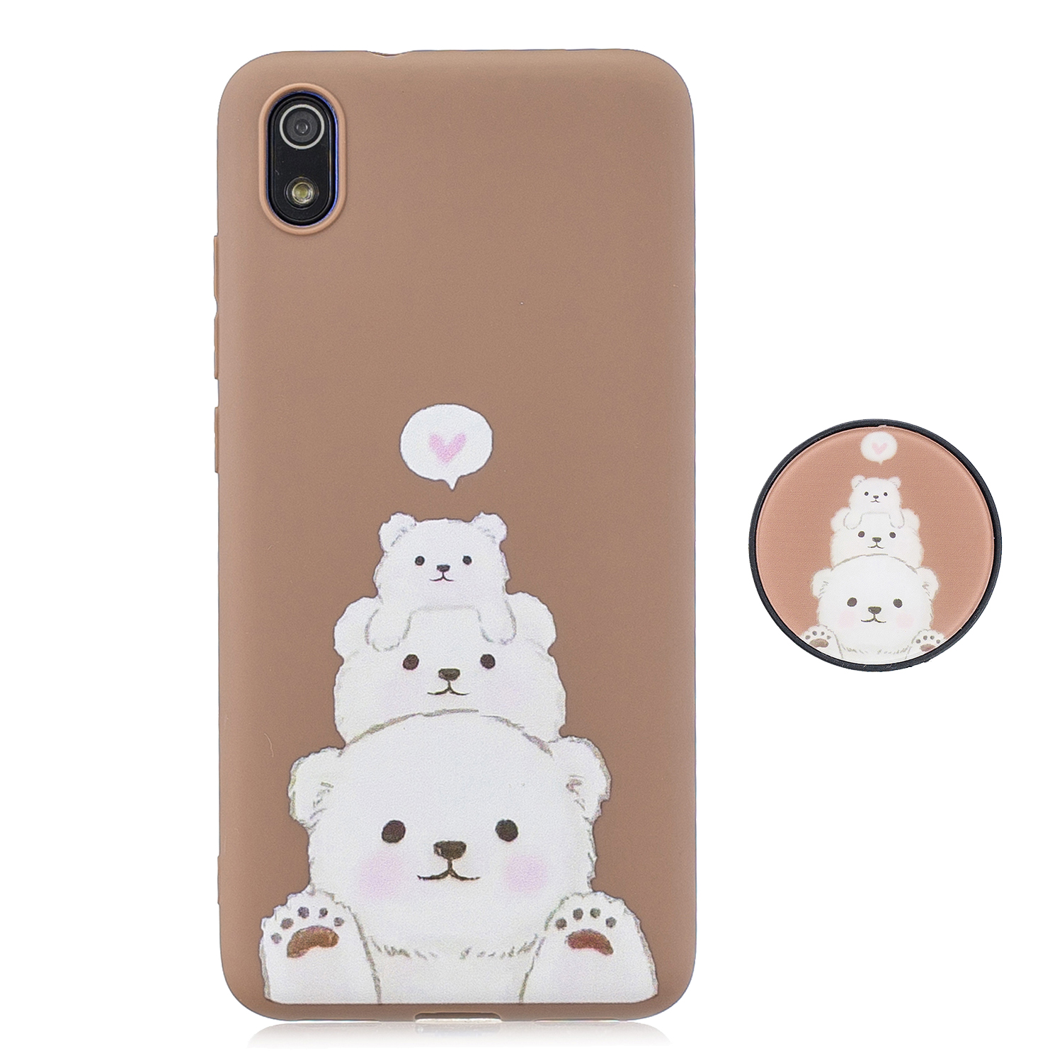 For Redmi 7A Soft TPU Full Cover Phone Case Protector Back Cover Phone Case with Matched Pattern Adjustable Bracket 3