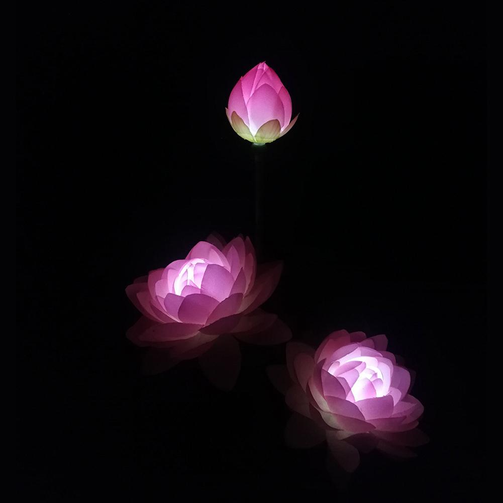 LED Waterproof Solar Power Lamp Lotus Flower Shape Lawn Lamps Night Light for Outdoor Garden Yard Decor 3 lotus pinks