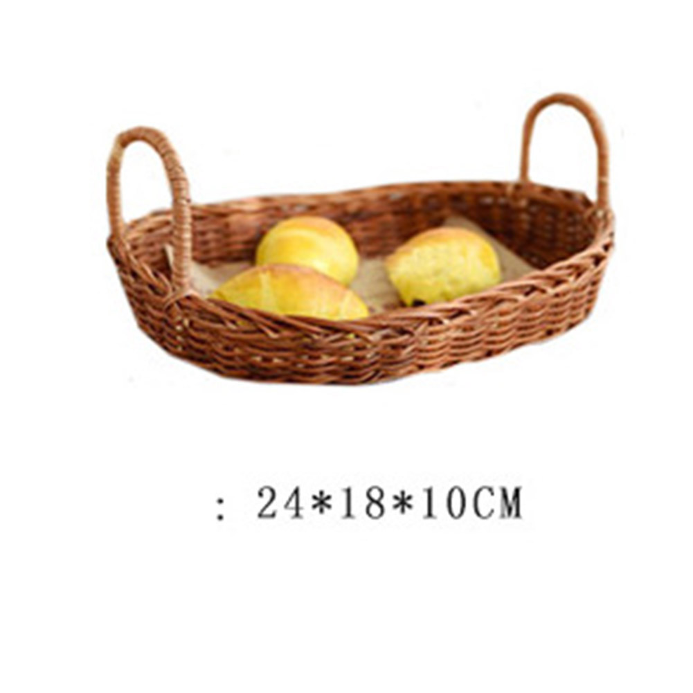 Rattan Storage Tray with Handle Bread Fruit Food Breakfast Display Basket for Kitchen small