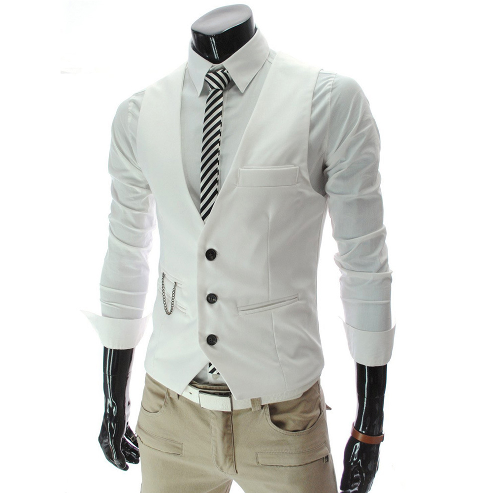 Men V-neck Fashion Slim Fit Suit Solid Color Casual Waistcoat white_XL