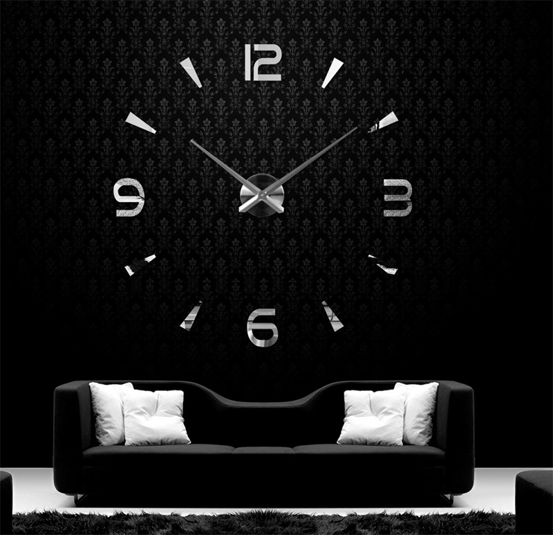 Modern & Concise DIY Analog 3D Mirror Surface Large Number Wall Clock Sticker Home/Hotel Decor, 1pc AA Battery Power (not included) Silver