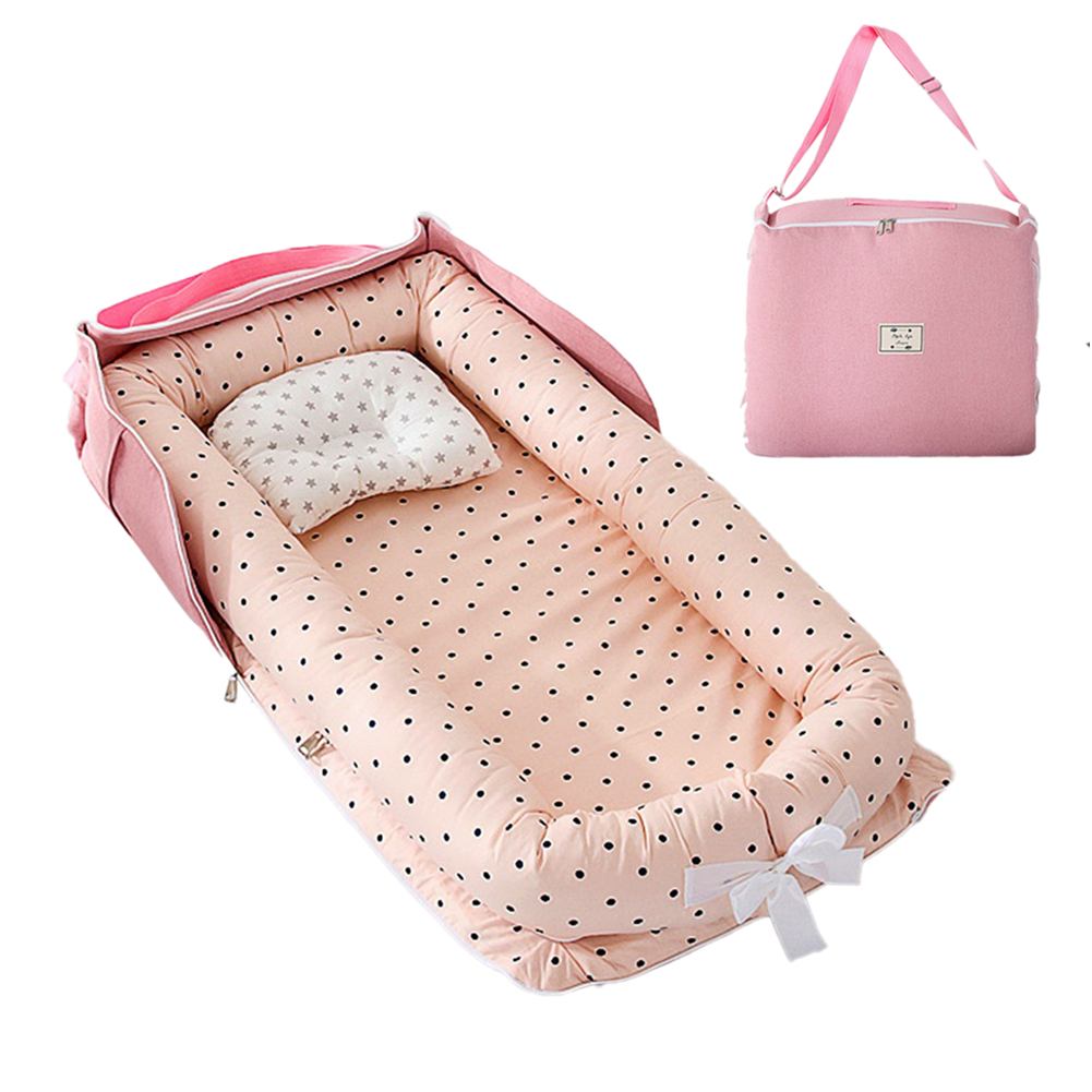 2pcs Portable Baby Nest Bed Pillow For  Boys  Girls Travel Bed Infant Cotton Cradle  Crib  Newborn  Bed pink polka dot_85x45