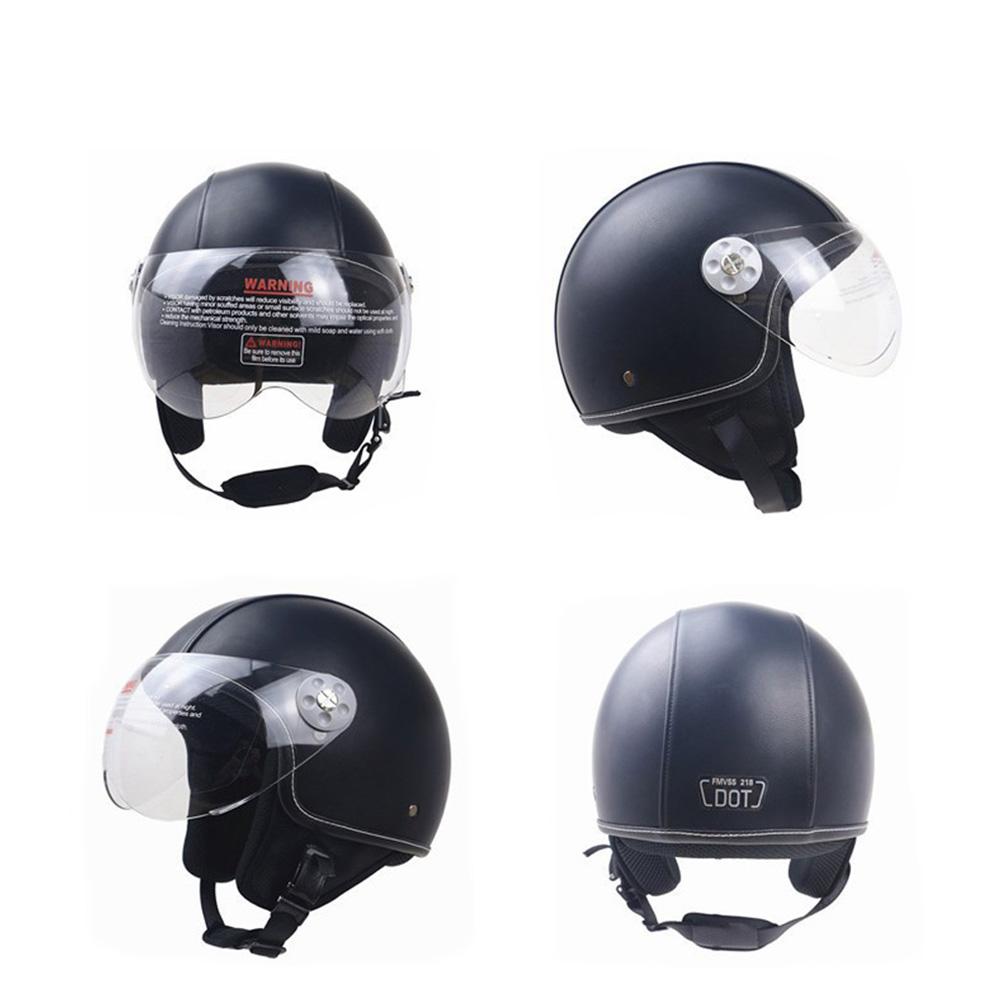 DOT Certification Helmet Leather Cover Scooter Vintage Helmet Classic black L