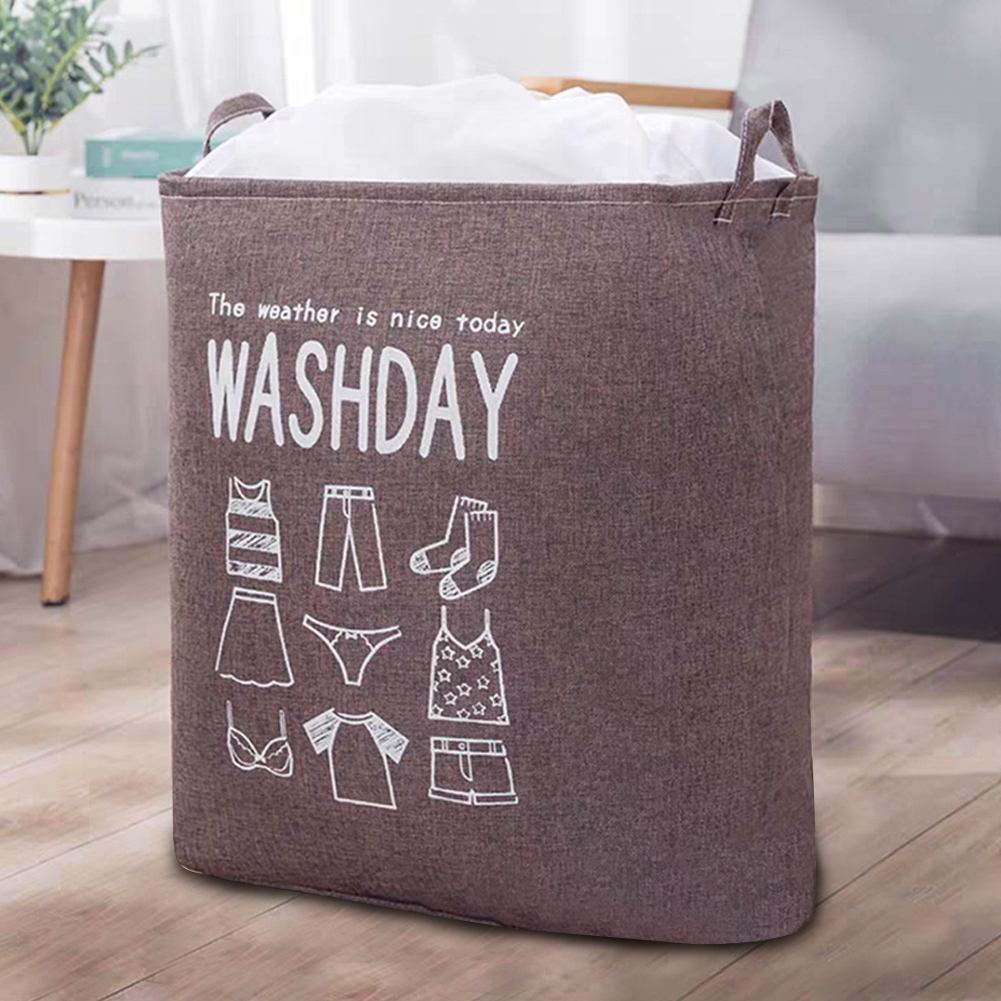 Household Laundry Storage Bag Waterproof Cloth Dirty Clothes Basket with Drawstring coffee_43 * 53 * 33cm