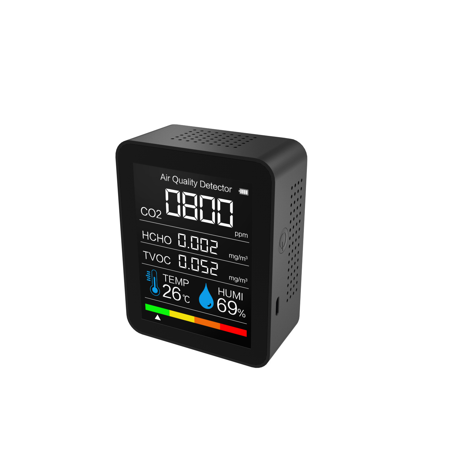 Tvoc Carbon  Dioxide  Detector With Intelligent Color Screen Display Real-time Monitoring And Display black