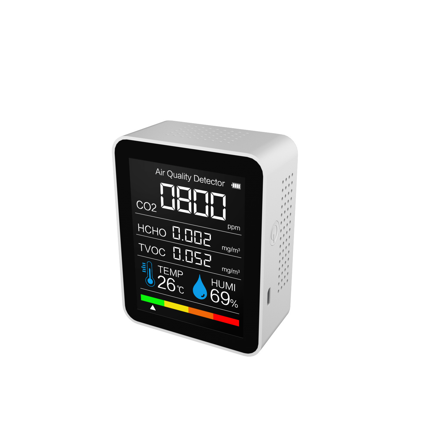Tvoc Carbon  Dioxide  Detector With Intelligent Color Screen Display Real-time Monitoring And Display white