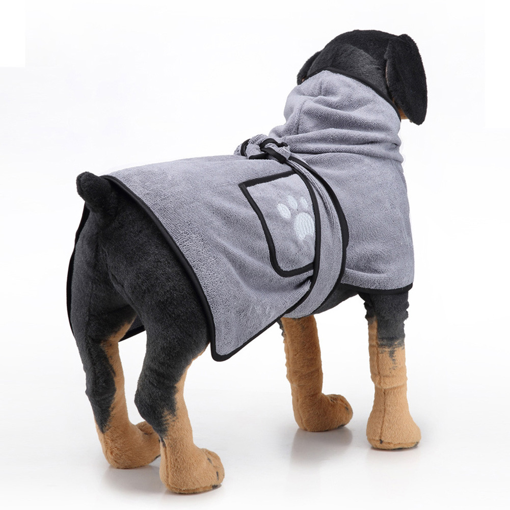 Pet Thick Bath Towel Cat Dog Quick-drying Pet Cloak Bathrobe gray_XL