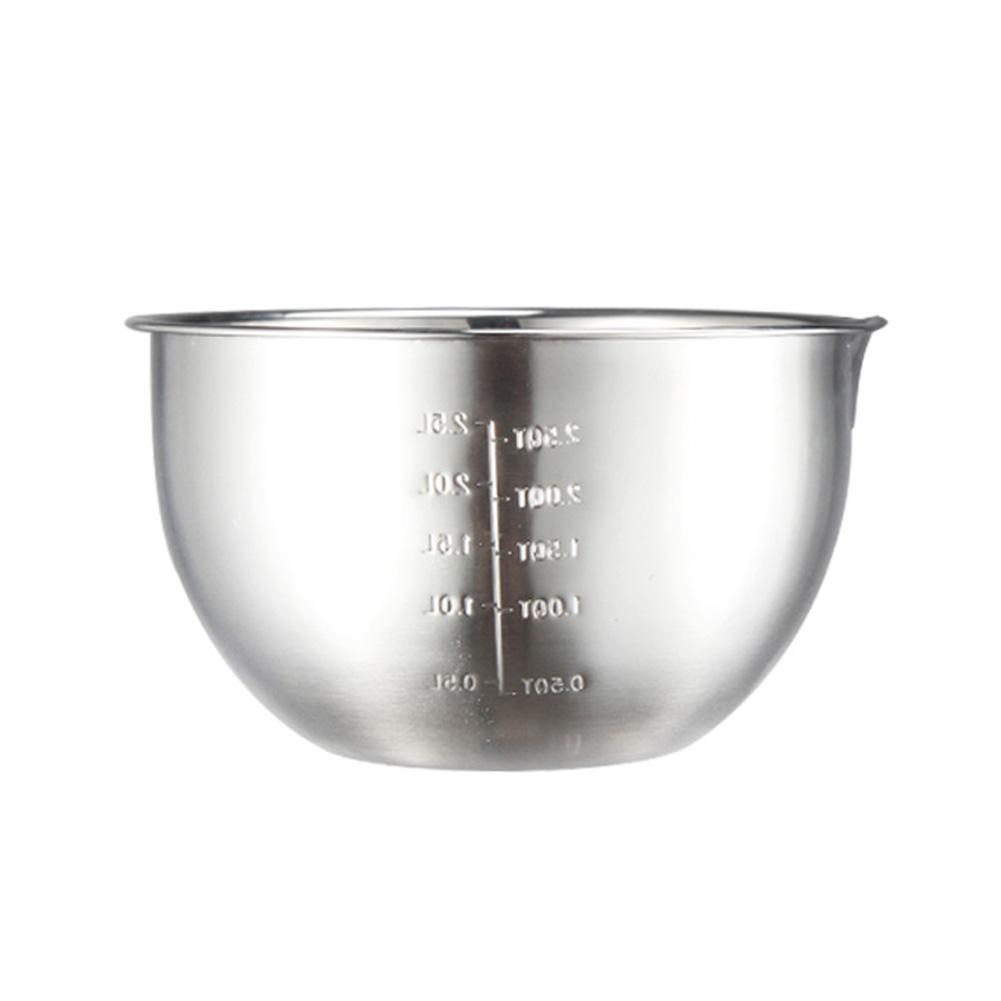 Stainless Steel Mixing Bowls Non Slip Whisking Bowls for Salad Cooking Baking Stainless steel_Inner diameter 20cm