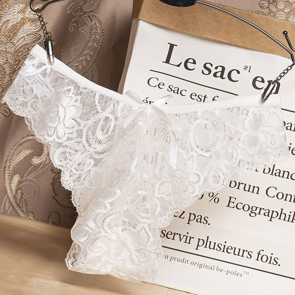 Women G-string Lace Briefs See-through Low Waist Sexy Underwear Cotton Crotch Erotic Panties white_One size