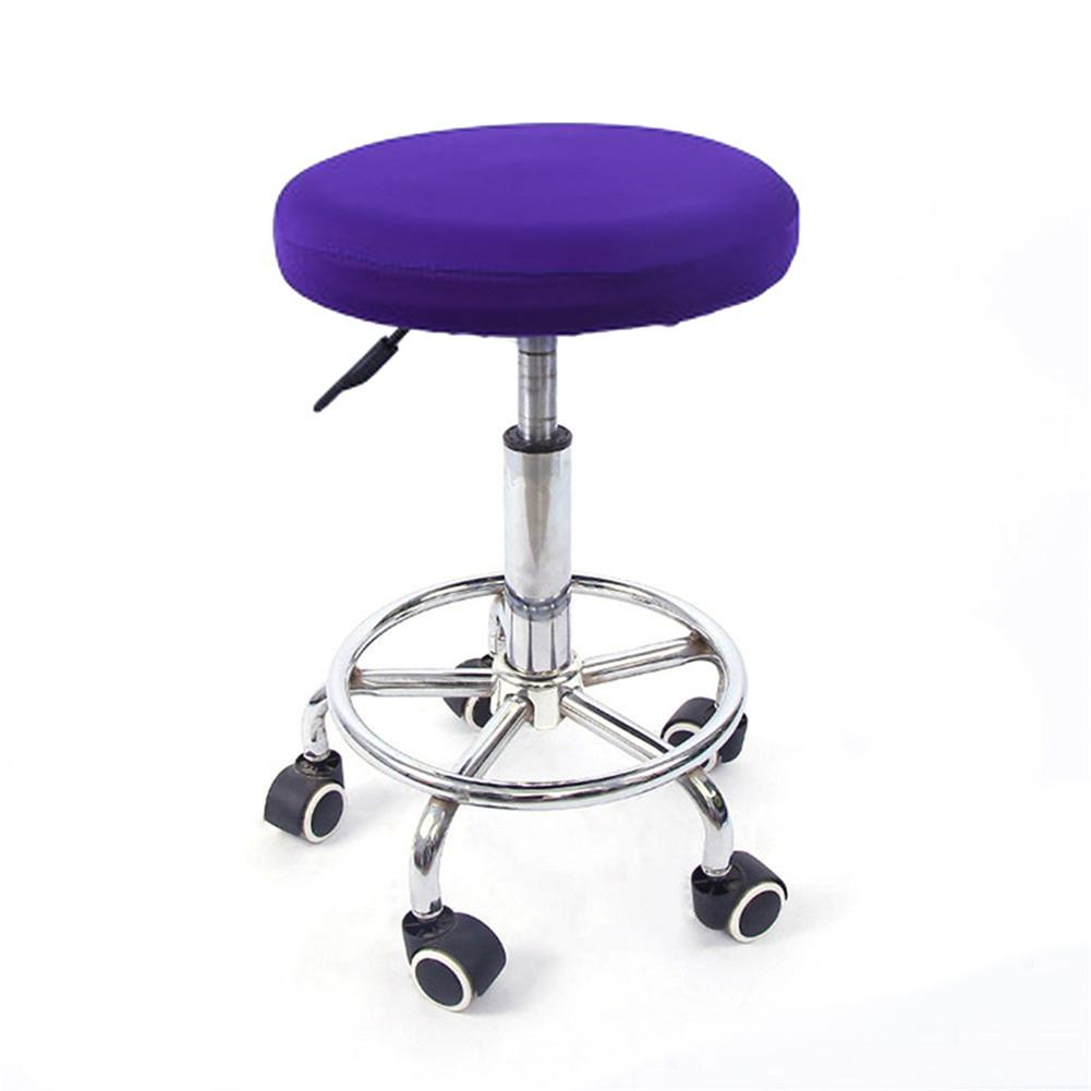 12'' Lift Stool Round Head Soft Chair Cover Micro Elastic Cushion Seat Case Dark purple_Flexible