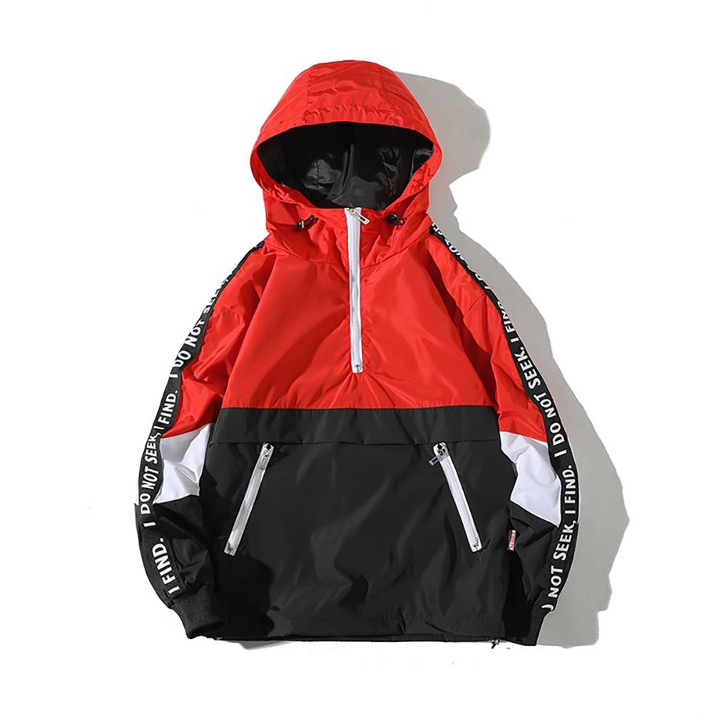 Men Spring Autumn Hooded Loose Large Size Pockets Jacket Coat red_L