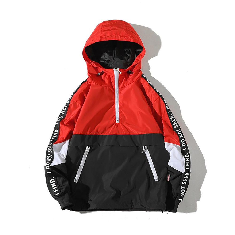 Men Spring Autumn Hooded Loose Large Size Pockets Jacket Coat red_4XL