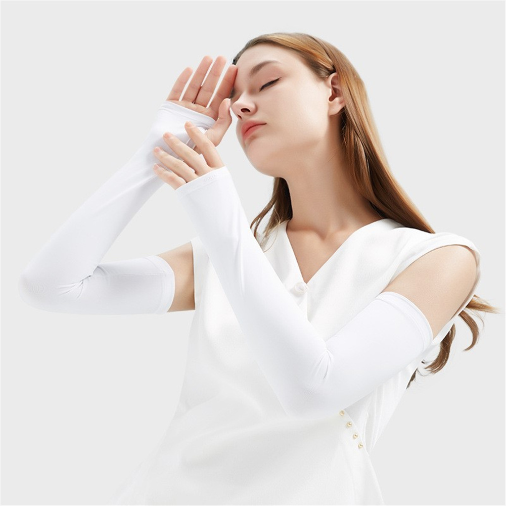 1pair Summer Ice Silk Sunscreen  Sleeve Breathable Quick-drying Gloves For Outdoor Riding Fishing HB16 white_S