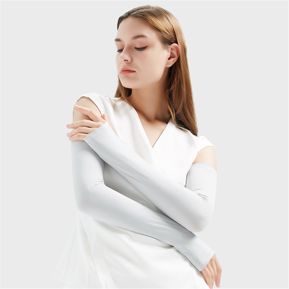 1pair Summer Ice Silk Sunscreen  Sleeve Breathable Quick-drying Gloves For Outdoor Riding Fishing HB16 light gray_M