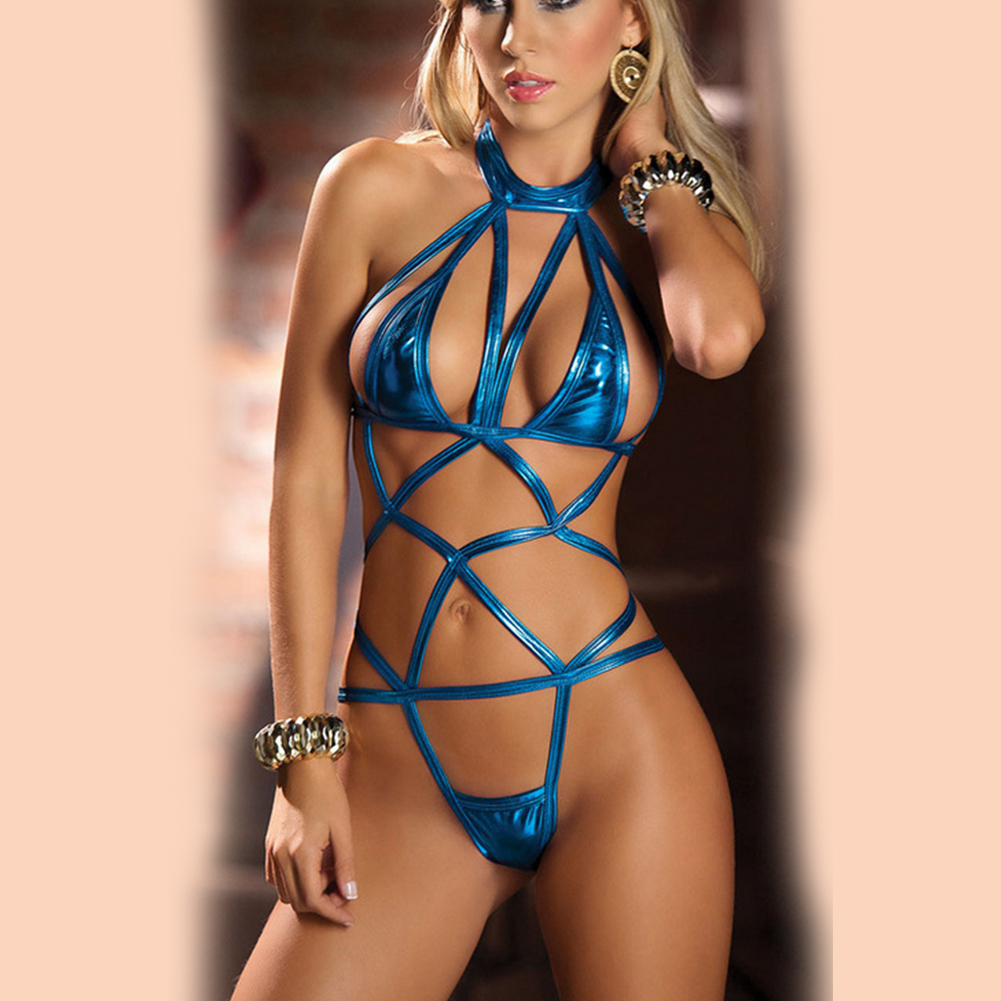 Women Sexy Lingerie Nightclub Dress Patent Leather Bodysuit Pole Dancing Clubwear  blue_One size