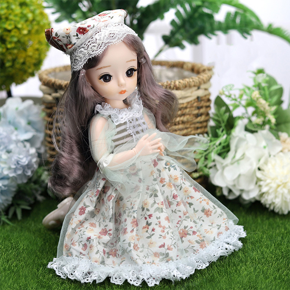 12-inch Joint  Doll Cute Style Real Eyelashes Princess Doll Toy For Kids (no Music + Bag) A7