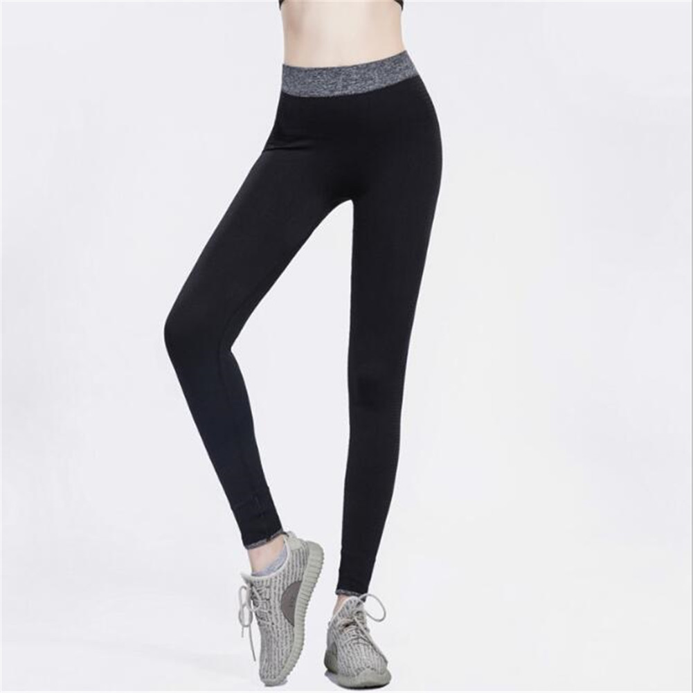 Women Sexy Elastic Yoga Sports Pants Wicking Force Exercise Quick-dry Leggings  black_L