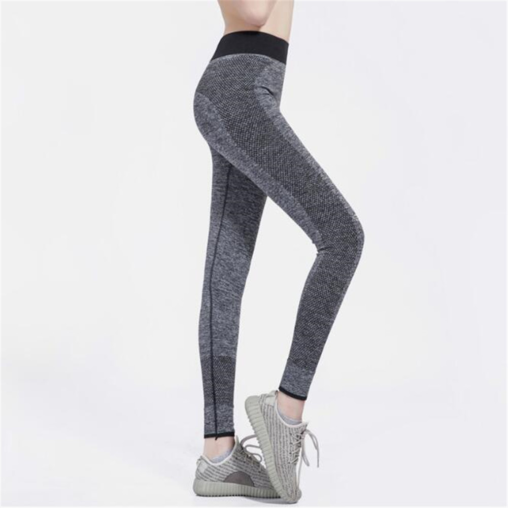 Women Sexy Elastic Yoga Sports Pants Wicking Force Exercise Quick-dry Leggings  gray_L