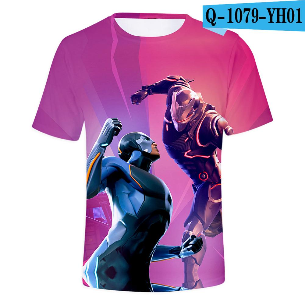 Casual 3D Cartoon Pattern Round Neck T-shirt Picture color AK_XXXL