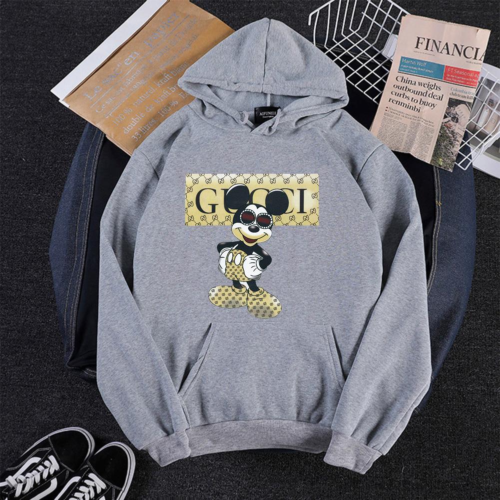 Men Cartoon Hoodie Sweatshirt Micky Mouse Autumn Winter Loose Student Couple Wear Pullover Gray_XXXL