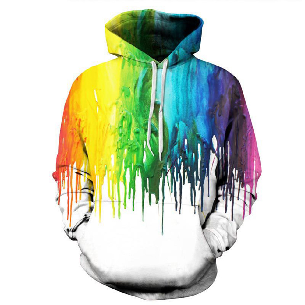 Men/Women 3D Print Hoodie Fashionable Colorful Oil Paint Design Hooded Pullover Top paint_XL