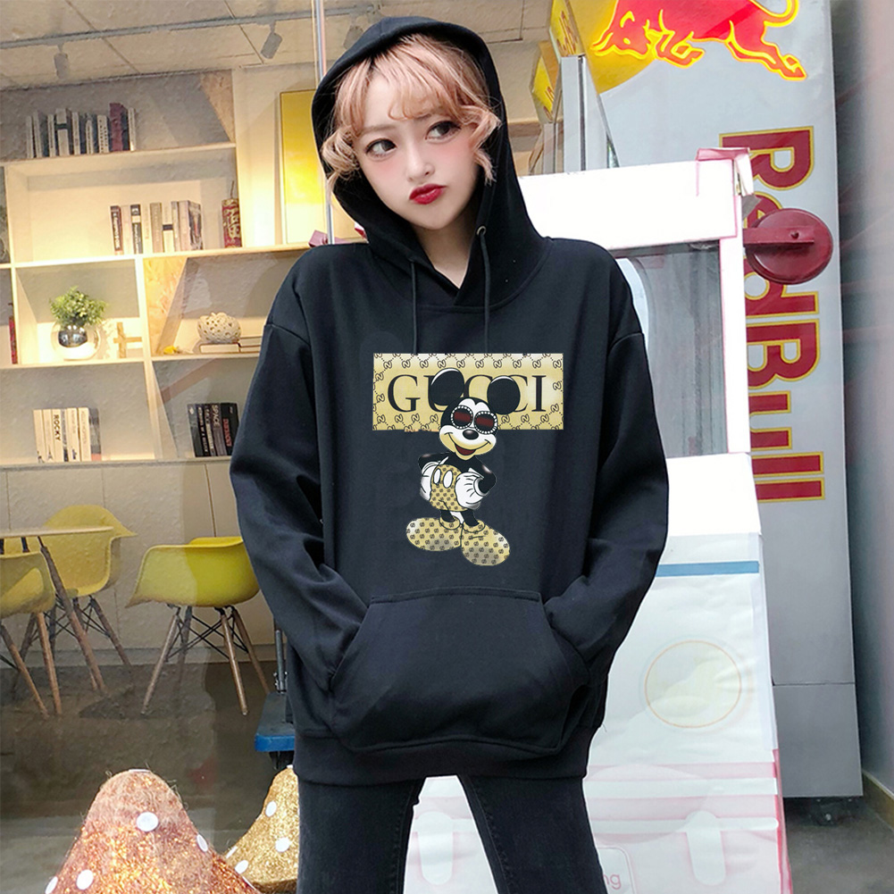 Men Hoodie Sweatshirt Cartoon Micky Mouse Autumn Winter Loose Student Couple Wear Pullover Black_S