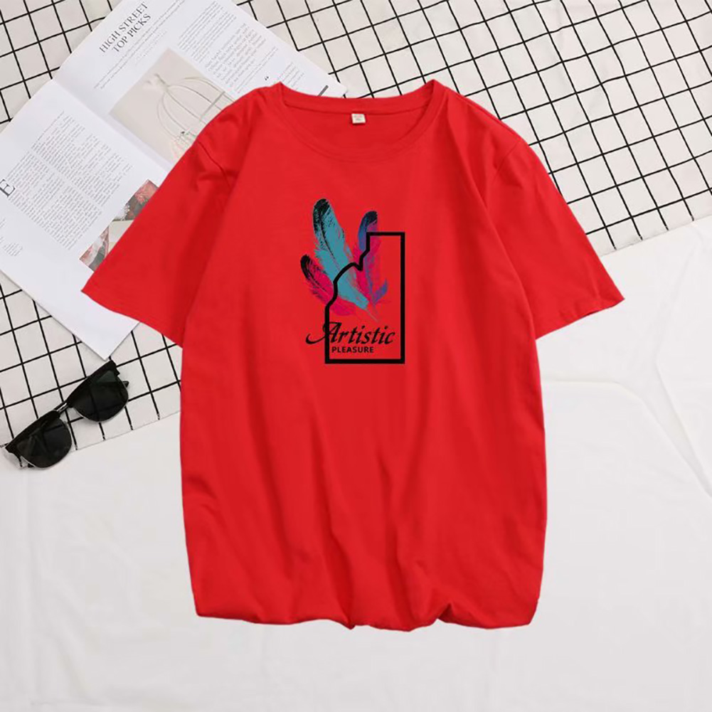 Male Short Sleeves Shirt Feathers Printed Top Pure Cotton Leisure Pullover 634 red_L