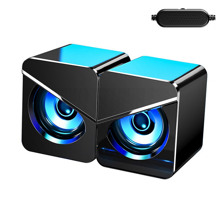 1 Pair Computer  Speakers Led Colorful Luminous Wired Gaming Mini Speaker Desktop Laptop Accessory Black with light