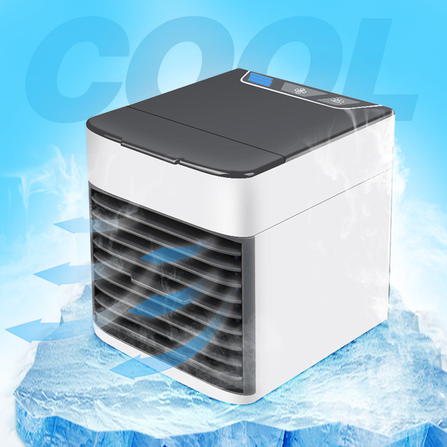 Usb Mini Air Cooler Plug And Play Quiet Fan With Colorful Night Light Air Cooler Off-white