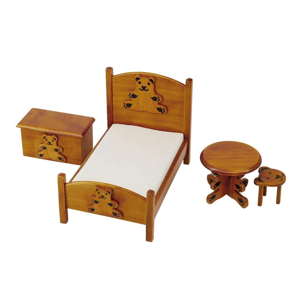 1:12 Wooden Mini  Furniture Bear Pattern Bedroom Model Set Toy Kit For Kids As shown