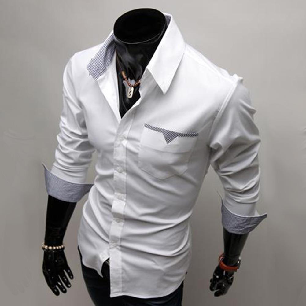 Men Long Sleeve Fashion Slim Casual Thin Plaid Shirt white_XL
