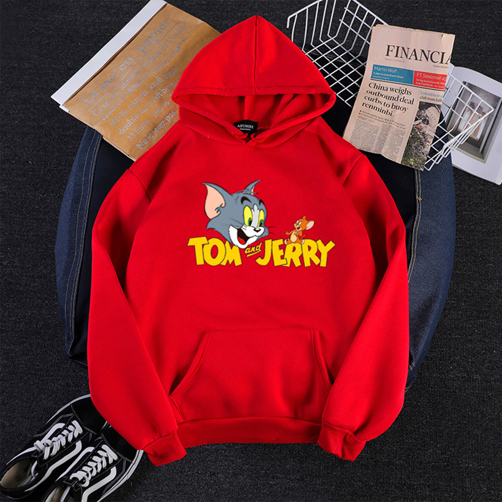 Men Women Hoodie Sweatshirt Thicken Velvet Tom and Jerry Loose Autumn Winter Pullover Tops Red_L
