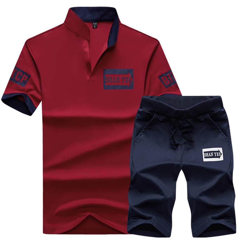 2pcs/set Men Summer Suit Middle Length Trousers + Casual Sports T-shirt Jujube_L