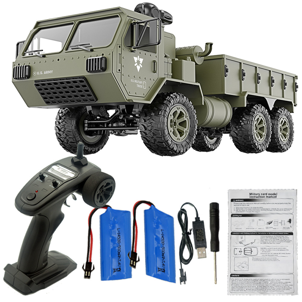 Fayee FY004A 1/16 2.4G 6WD Rc Car Proportional Control US Army Military Truck RTR Model Toys With camera+2 batteries_1:16