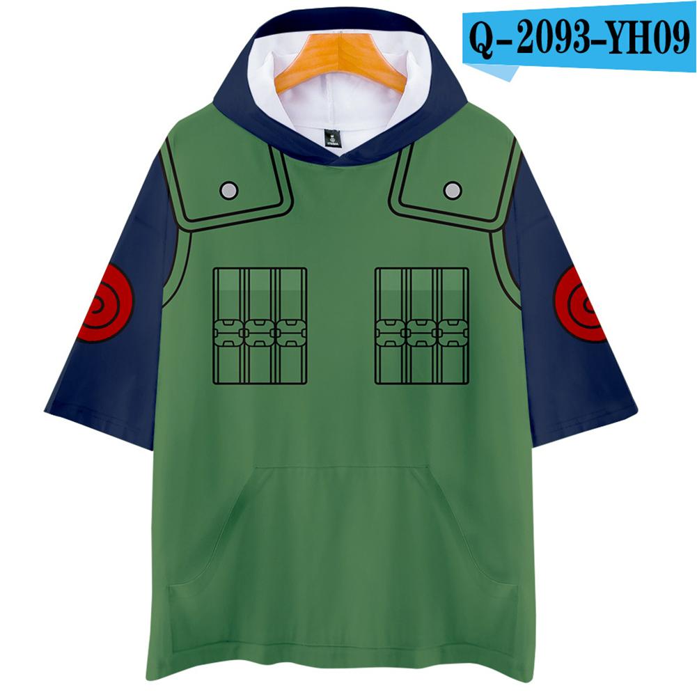 Unisex Fashion Naruto Cosplay Digital Print 3D Hooded Tops Short-sleeved T-shirt  Q-2093-YH09 green_S