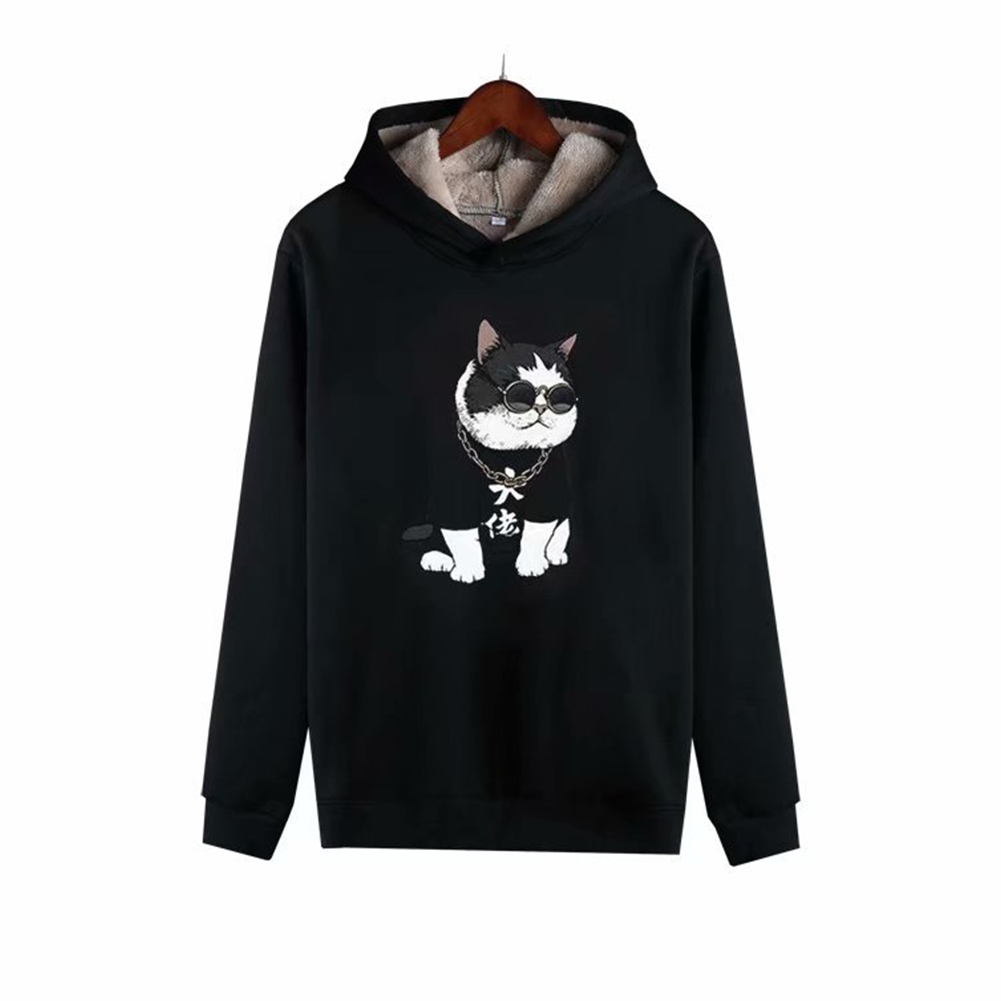 Men Autumn Winter Pullover Hooded Sweater Loose Long Sleeve Fleece Line Tops Hoodie 1#_XXXL
