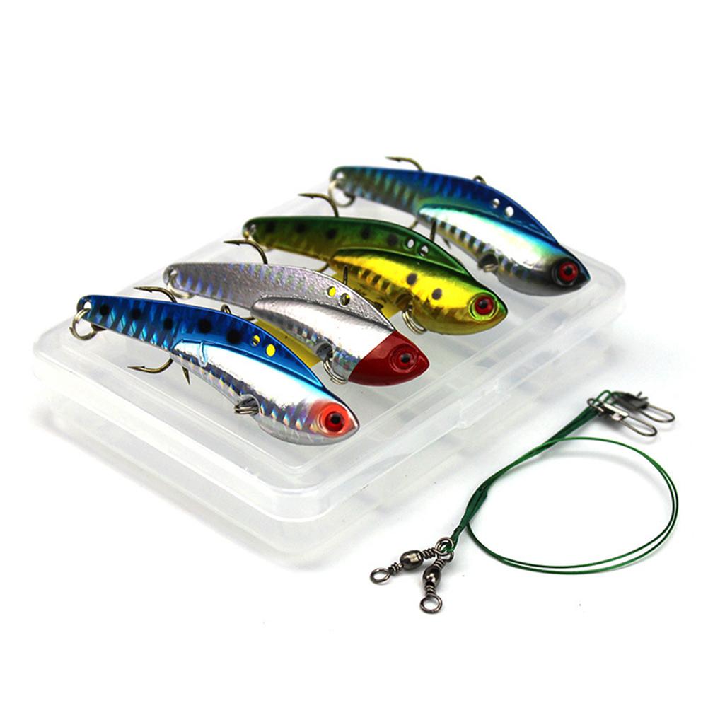 4PCS 7.5cm 25g Hard Metal VIB Fishing Lures Swing Vibration Pike Carp Trout Catfish Fishing Baits Set Set